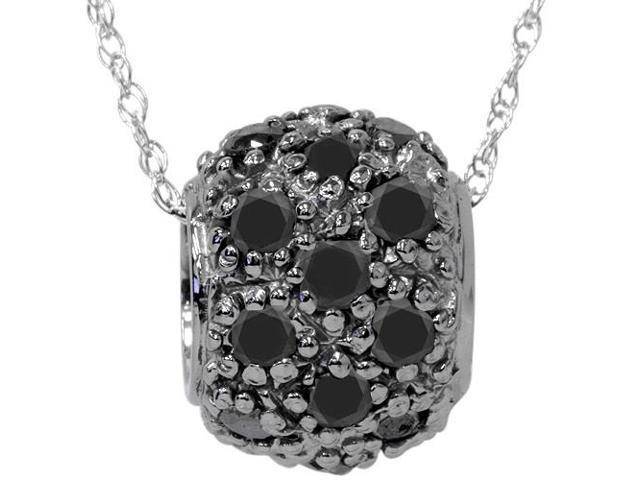 1ct Treated Black Diamond Pave Puff Slide Pendant 14K White Gold Necklace