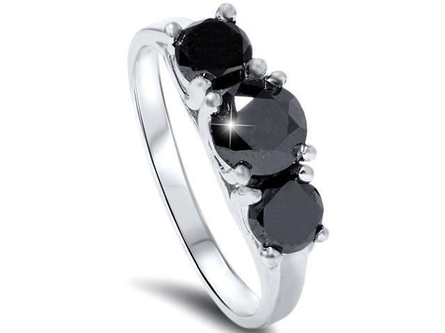 2 1/3ct Treated Black Diamond Three Stone Ring 14K White Gold