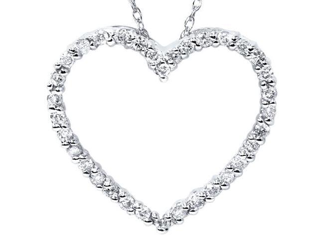 14K White Gold 1/2ct Diamond Heart Pendant Necklace
