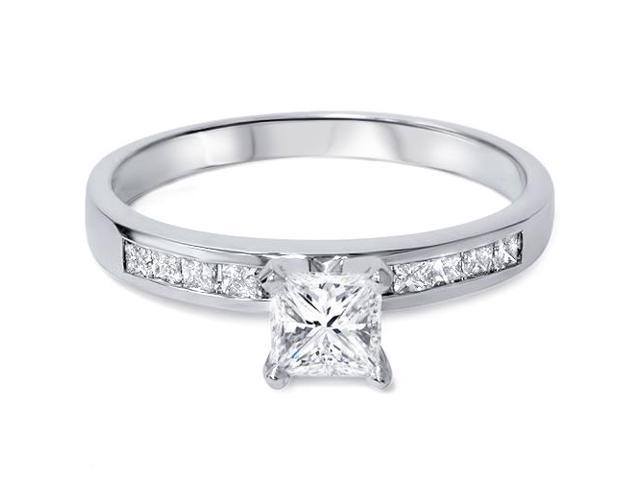 1ct Princess Cut Diamond Engagement Ring with Accent Diamonds 14K White Gold