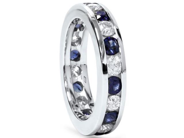 2ct Blue Sapphire & Diamond Channel Set Eternity Ring 14K White Gold
