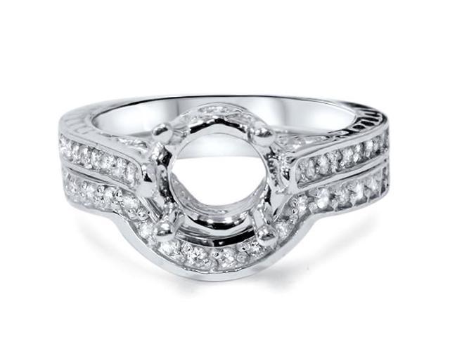 3/4ct Diamond Engagement Vintage Bridal Ring Set  Mount