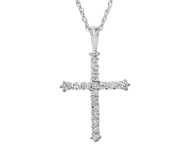 14K White Gold 1/2ct Diamond Cross Pendant Necklace