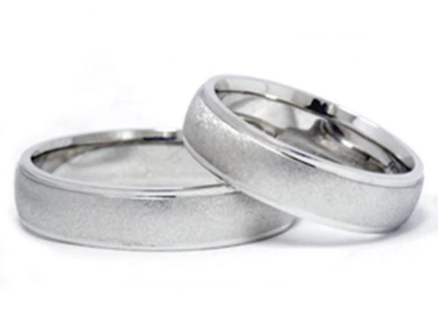 Brushed Matching Bands 14K White Gold