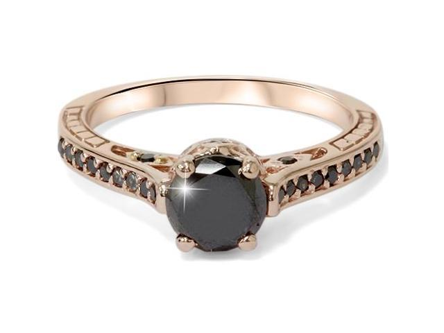 1 1/4ct Vintage Treated Black Diamond Ring 14K Rose Gold