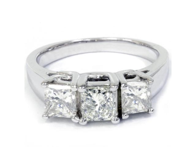 1 1/2ct 3-Stone Princess Cut Diamond Engagement Ring 14K White Gold