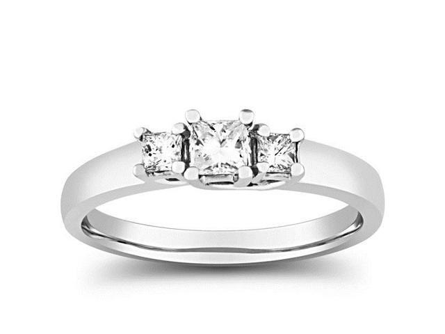 Women's 1/2ct Three Stone Princess Cut Diamond Ring Solid 14K White Gold