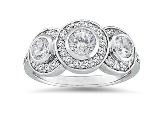 3/4ct Diamond Three Stone Engagement Ring 14K White Gold Bezel Solitaire Round