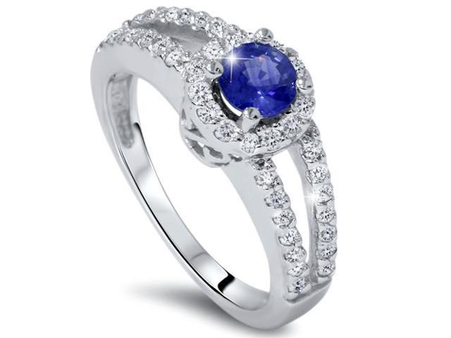3/4ct Halo Split Shank Reak Blue Sapphire Diamond Engagement Ring 14K White Gold