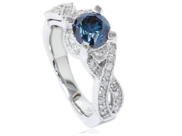 1 1/2ct Blue Diamond Vintage Infinity Engagement Ring 14K White Gold Pave Round