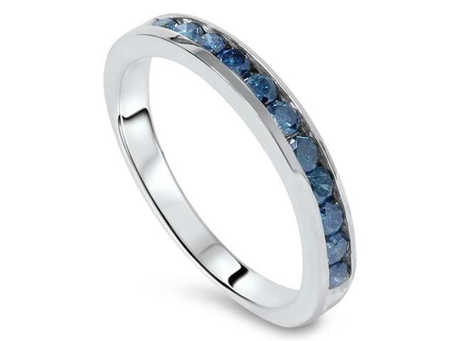 1 carat Treated Blue Diamond Channel Set Wedding Ring 14K White Gold