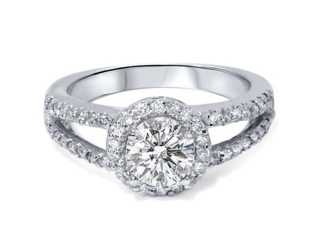 1 5/8ct Diamond Halo Split Shank Ring 14K White Gold