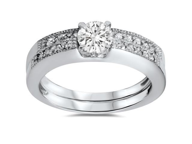 5/8ct Pave Milgrain Diamond Ring Set 14K White Gold