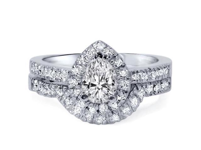 1 1/4ct Pear Shape Diamond Engagement Brial Set 14K White Gold