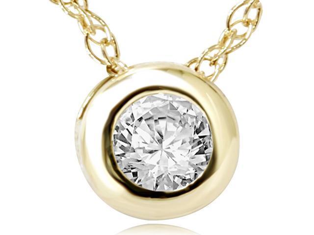 Yellow Gold 1/2ct Bezel Round Solitaire Diamond Pendant Womens Necklace