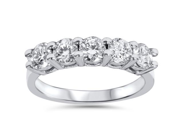 3/4ct Diamond 5-Stone Wedding Anniversary 14K White