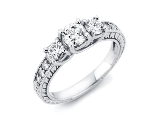 1ct Vintage Diamond Three Stone Ring 14K White Gold