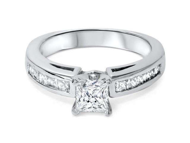 1 1/4ct Princess Cut Diamond Ring Channel Set 14K White Gold