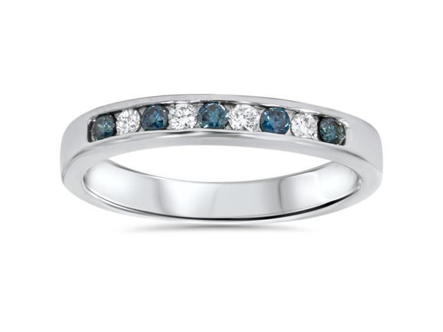 1/4ct Blue & White Diamond Wedding Ring 14K White Gold