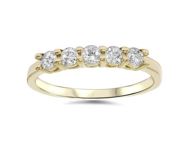3/4ct Diamond 5-Stone Wedding Anniversary 14K Yellow Gold Ring Womens Band