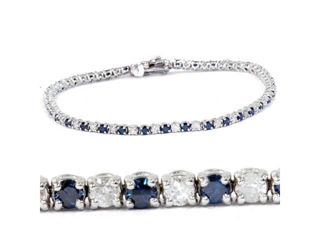 1 1/2ct Blue and White Diamond Tennis Bracelet 14K White Gold