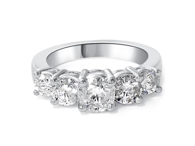 2ct 5-Stone Natural Diamond Anniversary Engagement Ring 14K White Gold Solitaire