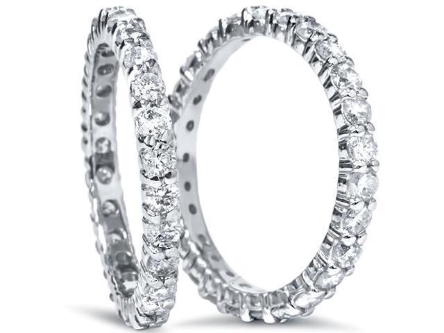 2ct Matching Diamond Eternity Wedding 14K Ring Set