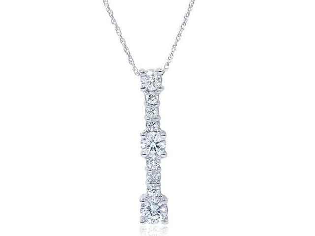 14K White Gold 1/2ct Diamond Stick Pendant Necklace