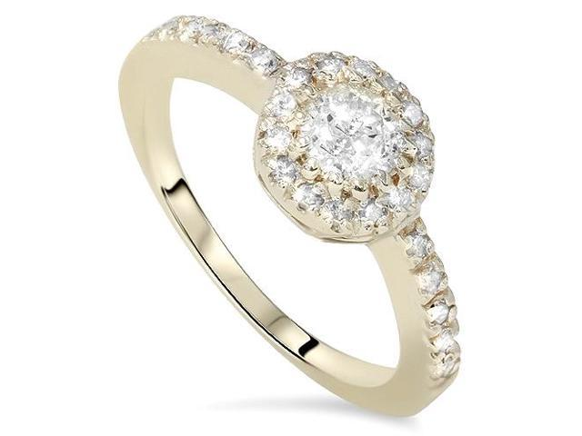 3/4ct Diamond Engagement Halo Yellow Gold Wedding Ring