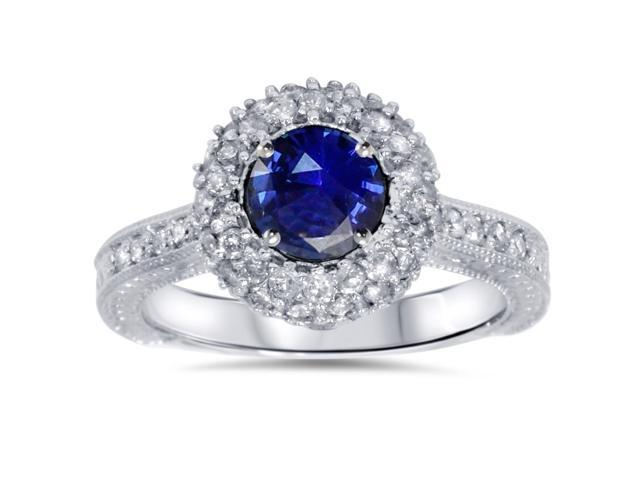 1ct Blue Sapphire Diamond Halo Vintage Engagement Round Cut Ring 14K Gold