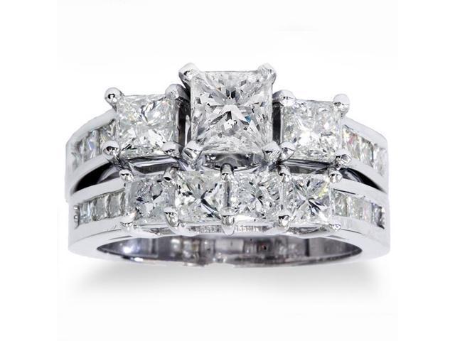 3 1/2ct Side Stone Diamond Ring Set 14K White Gold