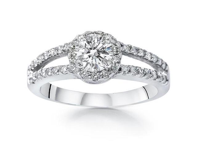 3/4ct Halo Round Diamond Engagement Ring 14K White Gold Brilliant Cut Solitaire