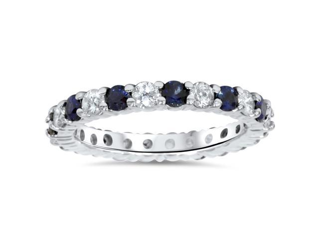1 1/2ct Sapphire & Diamond Eternity Ring 14K White Gold