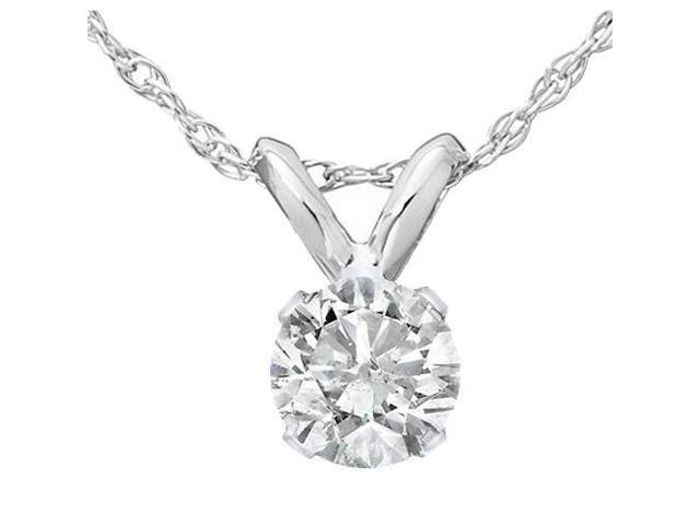 1/2ct Solitaire Diamond Pendant 14K White Gold
