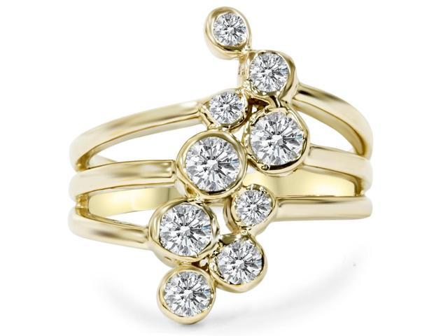 1CT Diamond Journey Right Hand Ring 14K Yellow Gold