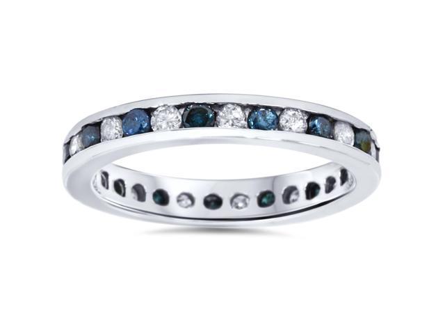 1ct Blue & White Diamond Eternity Guard Ring 14K White Gold