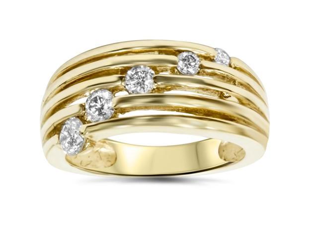 14k Yellow Gold 1/2ct Fancy Womens Right Hand Diamond Ring