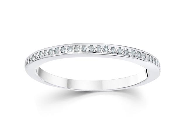1/10ct Pave Diamond Wedding Ring 14K White Gold