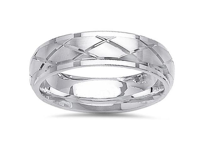 Modern Brushed 6mm Wedding Band 14K White Gold