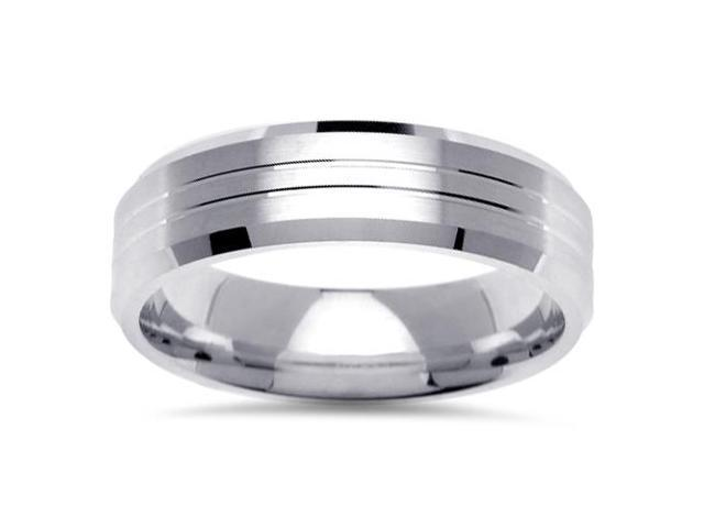 Mens White Gold Comfort Fit Brushed Wedding Band Ring