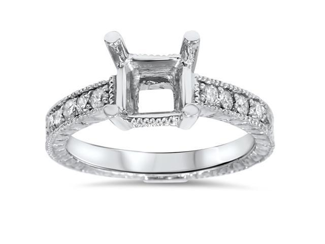 White Gold 1/4ct Princess Cut Diamond Hand Engraved Engagement