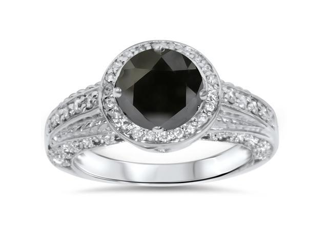 1 1/4ct Treated Black & White Diamond White Gold Engagement Ring