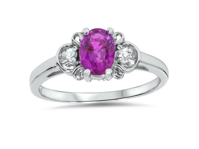 1 1/4ct Oval Amethyst & Diamond Ring 14K White Gold