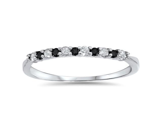 1/4ct Treated Black & White Diamond Wedding Anniversary Ring