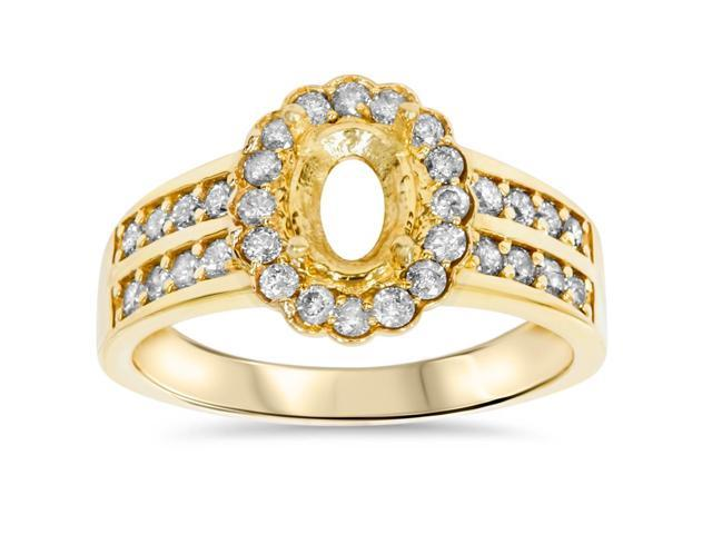 3/8ct Halo Oval Shape Diamond Gold Engagement Ring Setting