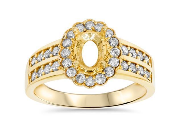 3/8ct Halo Oval Shape Diamond Gold Engagement Ring Setting