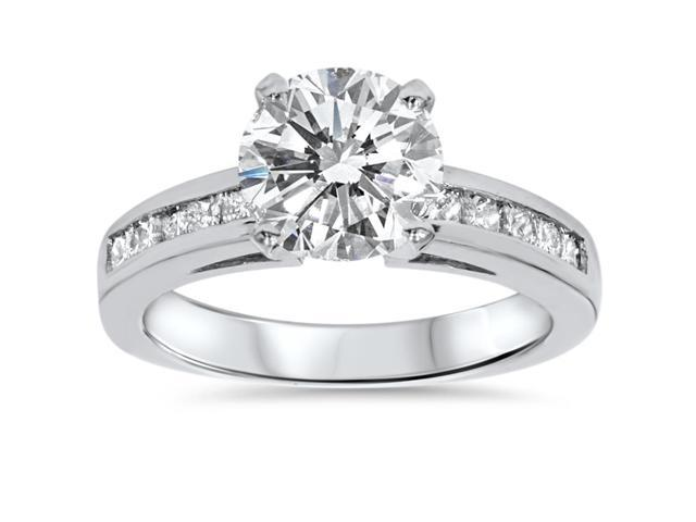 Diamond Engagement Ring 2 1/2 Carat Princess & Round Solitaire Cut 14k Enhanced