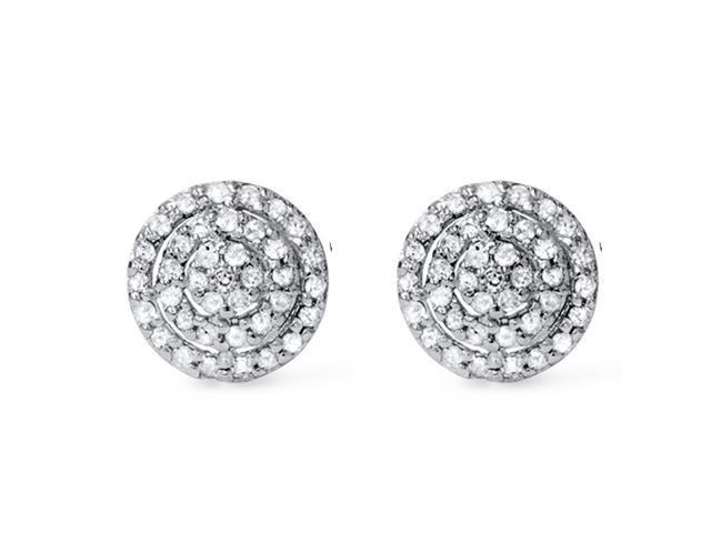 1/2CT Pave Diamond Double Halo Studs 14K White Gold
