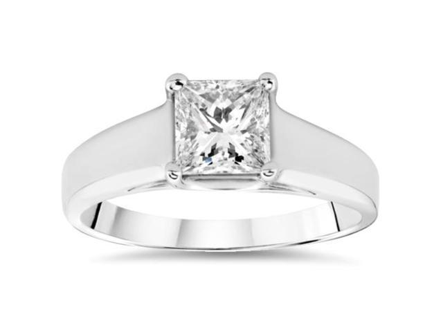 1 1/2ct White Gold Princess Cut Enhanced Diamond Engagement Ring