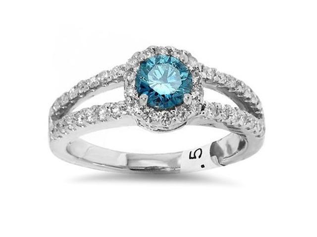 3/4ct Halo Split Shank Treated Blue Diamond Engagement Ring 14K White Gold